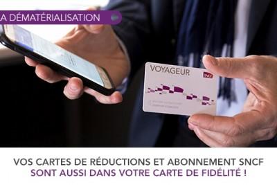 Dématérialisation des cartes de réduction Voyageur SNCF